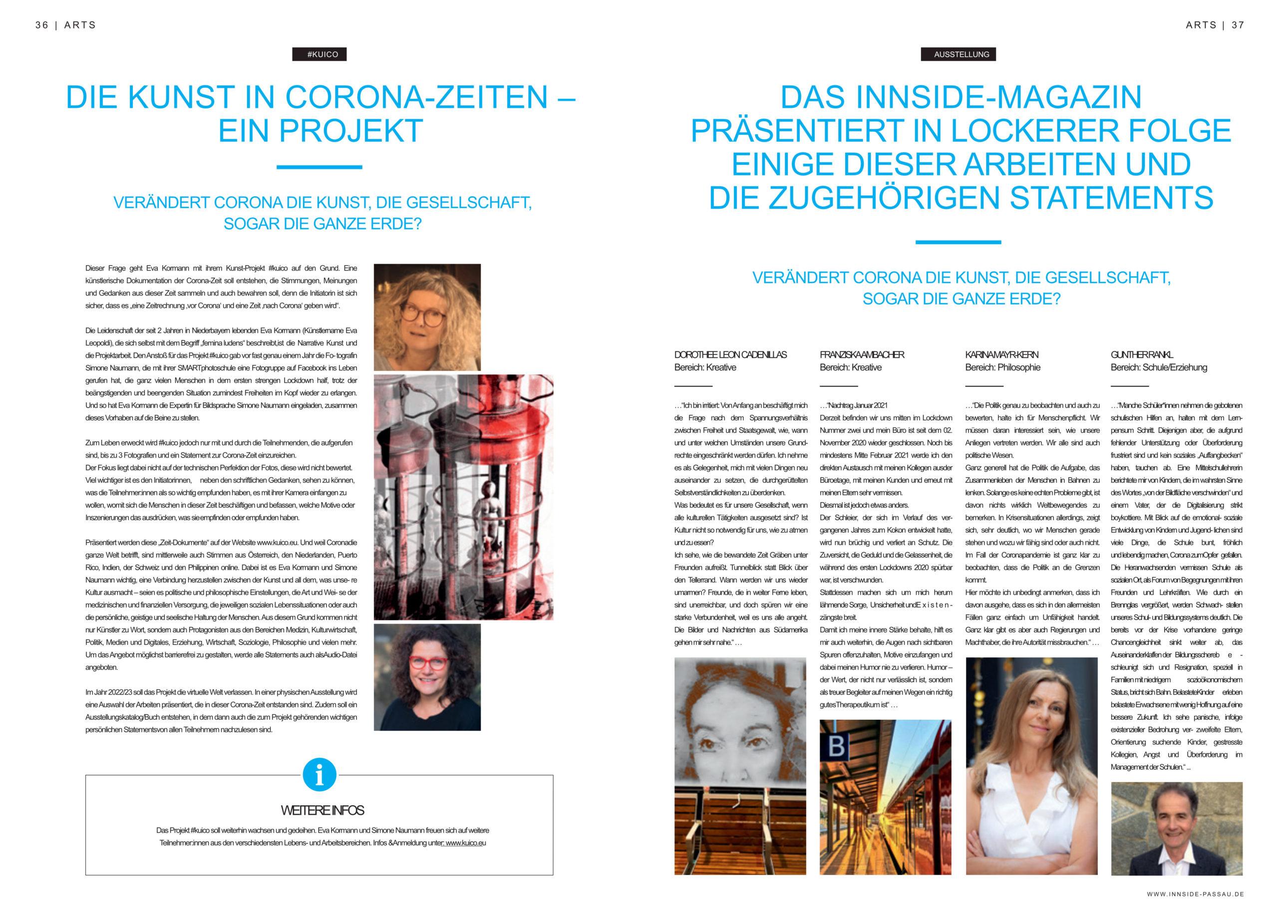 Zweiseitiger Artikel über das Kunstprojekt #Kuico im Magazin INNSIDE. Ausgabe 05/2021. Das Projekt wird beschrieben nd vier Teilnehmer in Auszügen vorgestellt.
